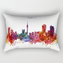 Auckland Watercolor Skyline Rectangular Pillow