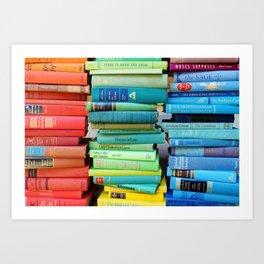 Rainbow Stacks of Vintage Books Art Print