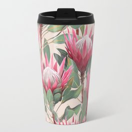 Painted King Proteas on cream Travel Mug