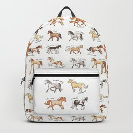 Horses - different colours and markings illustration Backpack
