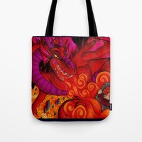 smaug Tote Bags featuring Smaug by Art By Emmy Kay