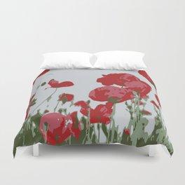Poppy Field Of Remembrance Vector Duvet Cover