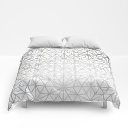 Modern silver stars geometric pattern Christmas white marble Comforters