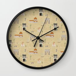 Florence Map Print Illustration Wall Clock