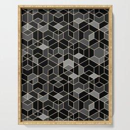 Black geometry / hexagon pattern Serving Tray