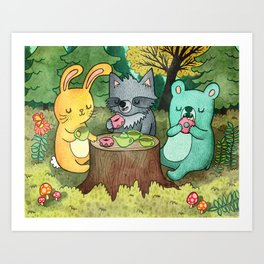 Woodland Animal Picnic Art Print