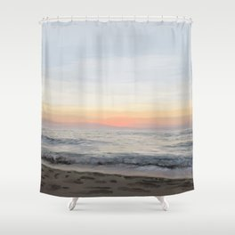 Calm West Coast Waves at Sunset Shower Curtain