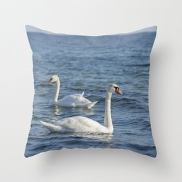 White swan Cygnus Throw Pillow