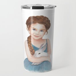 Little girl stroking  bunny Travel Mug