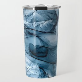 Churning Blue Ocean Waves Abstract Painting Travel Mug