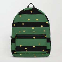 Christmas Golden confetti on Black and Green Stripes Backpack