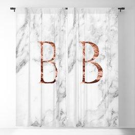 Monogram rose gold marble B Blackout Curtain
