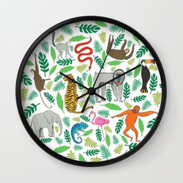 Animals in the Jungle Wall Clock