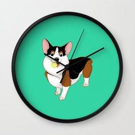 Playful Corgi Wall Clock