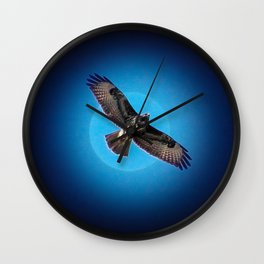 Bird of prey in the moonlight Wall Clock