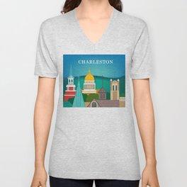 Charleston, West Virginia - Skyline Illustration by Loose Petals Unisex V-Neck