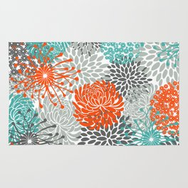 Orange and Teal Floral Abstract Print Rug