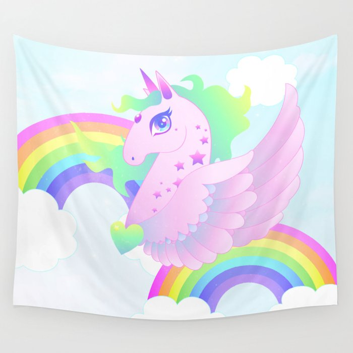 Wings and rainbows Wall Tapestry