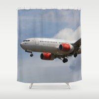 scandinavian Shower Curtains featuring Scandinavian Airlines Boeing 737 by David Pyatt
