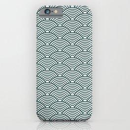 Japanese Waves (Dark Green & White Pattern) iPhone Case