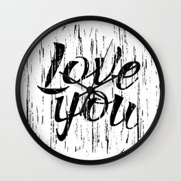 Letters calligraphy, love you, hand drawing Wall Clock