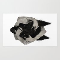 dark Area & Throw Rugs featuring Wild Dog by Corinne Reid