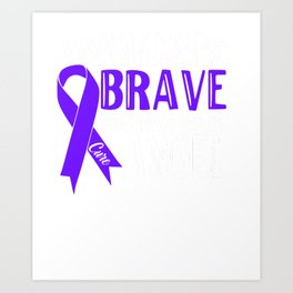 Mom My Was So Brave God Made Her An Angel Memorial Blue Ribbon Cancer Art Print