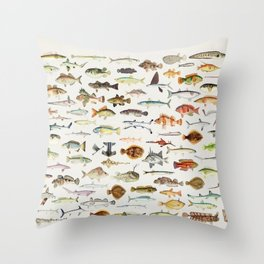 Illustrated Colorful Southern Pacific Exotic Game Fish Identification Chart Throw Pillow