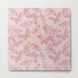 Butterfly Pattern soft pink pastel Metal Print
