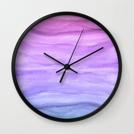 Abstract Watercolor Layers - Purple Ombre Wall Clock