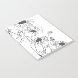 Minimal Line Art Girl with Sunflowers Notebook