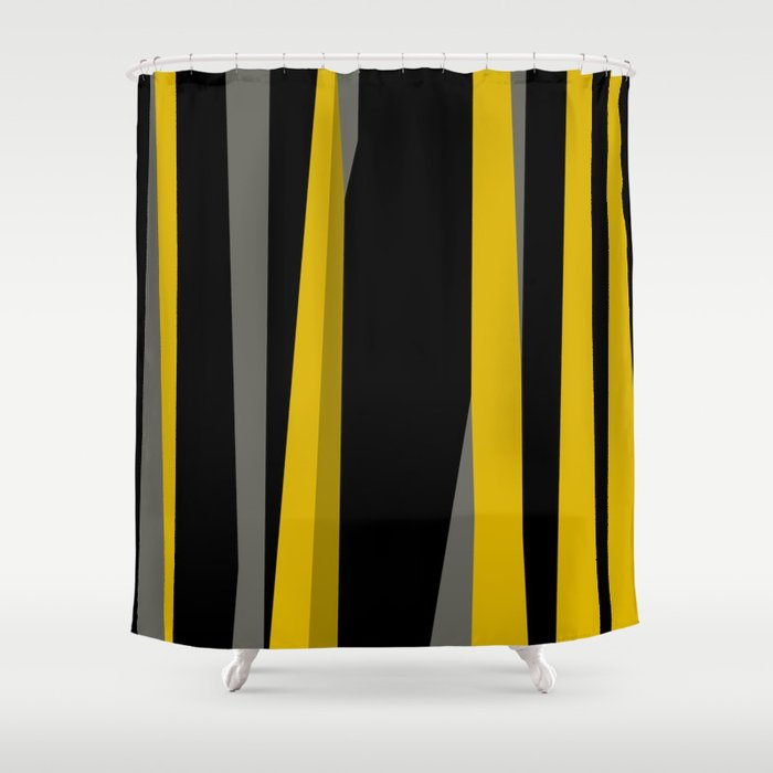 Yellow Gray And Black Shower Curtain By Christyleigh