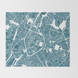 Brussels City Map I Throw Blanket