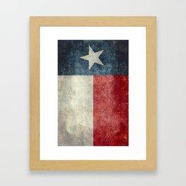 Texas state flag, vintage banner Framed Art Print