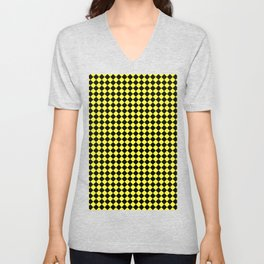 Black and Electric Yellow Diamonds Unisex V-Neck