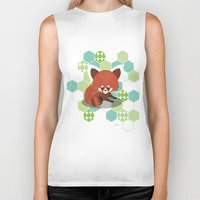red panda Biker Tanks featuring Red Panda by Steph Dillon