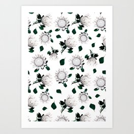 Protea Floral Pattern Art Print