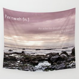 Fernweh - beach photo, seascape ocean photography, inspirational quote, travel landscape typography Wall Tapestry