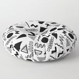 Retro abstract geometrical black white 80's pattern Floor Pillow