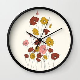 Colorful Poppy Flowers Wall Clock