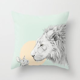 Lion and Bunny Throw Pillow