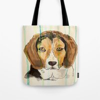 beagle Tote Bags featuring Beagle by Tammy Kushnir