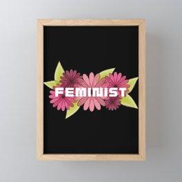 Feminist with Pink Spring Flowers Framed Mini Art Print
