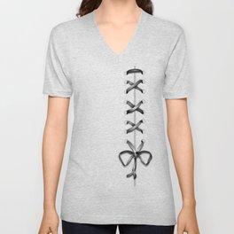 Laced Gray Ribbon on White Unisex V-Neck
