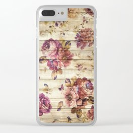 Rustic Vintage Country Floral Wood Romantic Clear iPhone Case