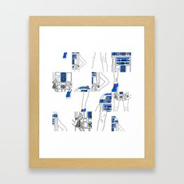 Robot Girl Cubism Framed Art Print