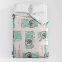 Camera and Feathers Duvet Cover