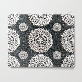 Black Glitter and Silver Mandala Textile Piece Metal Print