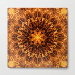 Gold Light Gateway Mandala Metal Print