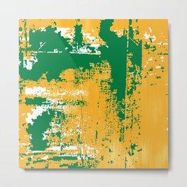 Grunge Paint Flaking Paint Dried Paint Peeling Paint Yellow Green White Metal Print